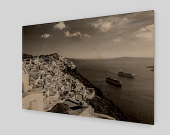 Santorini Hill Top Wood Print, 1:50 Limited Edition / black and white / photography / photo / home decor / decoration /. wall art