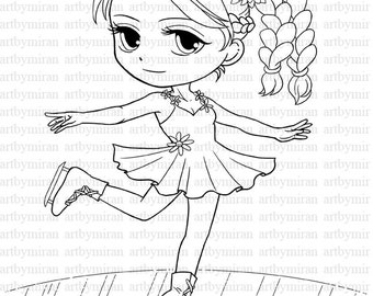 Digital Stamp-Skating Girl(#03), Winter Coloring page, Digi Stamp, Printable Line art for Card and Craft Supply, Art by Mi Ran Jung