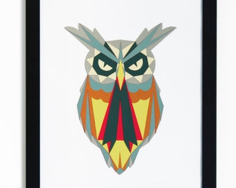 Owl papercut digital download, mothers day gift, animal art, owl decor woodland animals wall art, printable owl art, geometric papercraft