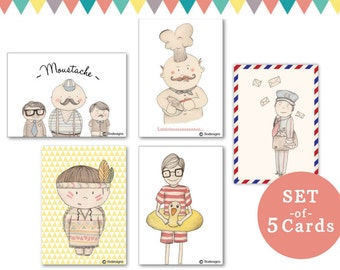 set of 5 cards for boys