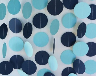 Blue Navy White Garland Blue Baby Shower Decor Birthday