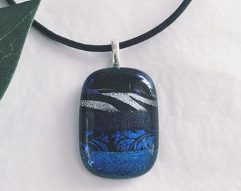Dichroic glass pendant - Fused glass, Etched patterns, different shades of blues and dark purples