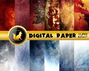 Orange Blue Splash Scrapbook Paper,Abstract Background,Abstract Splash Paper,Vintage Backdrop,digital paper,Abstract Background,Splash Dots