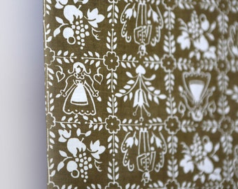 Vintage 50's Brown and white scandanavian fabric - dutch girl + boy with scandanavian flowers and floral decorative pattern