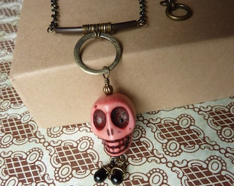 Pink Day of the Dead Skull Necklace with Brass II