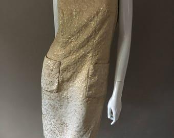 Vintage 1960s Gold Brocade Suzy Perette New York shift Dress