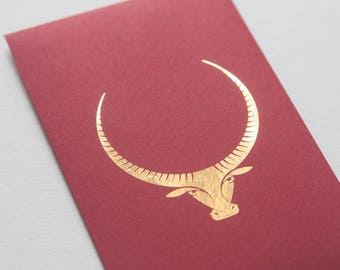 2 gold-foiled Chinese red envelopes - Ox