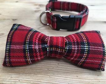 Red Tartan Clip Dog Collar