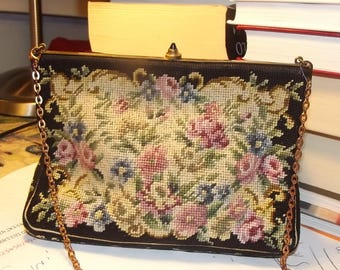 Tapestry bag. Old tapestry bag. Petit point purse. Floral petit point bag. Hand embroidered bag. Vintage Europe 1950s.