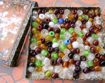 Antique 1800s German Blown Glass Trade Beads In Original Cardboard and Glass Decorative Box Marked Made In Germany