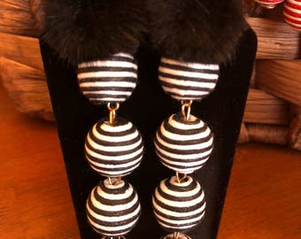 BON BON STACKED Earrings with Mink Poms