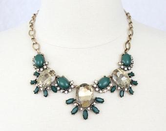 Green Statement Necklace Crystal Bib Necklace Rhinestone Flower Necklace