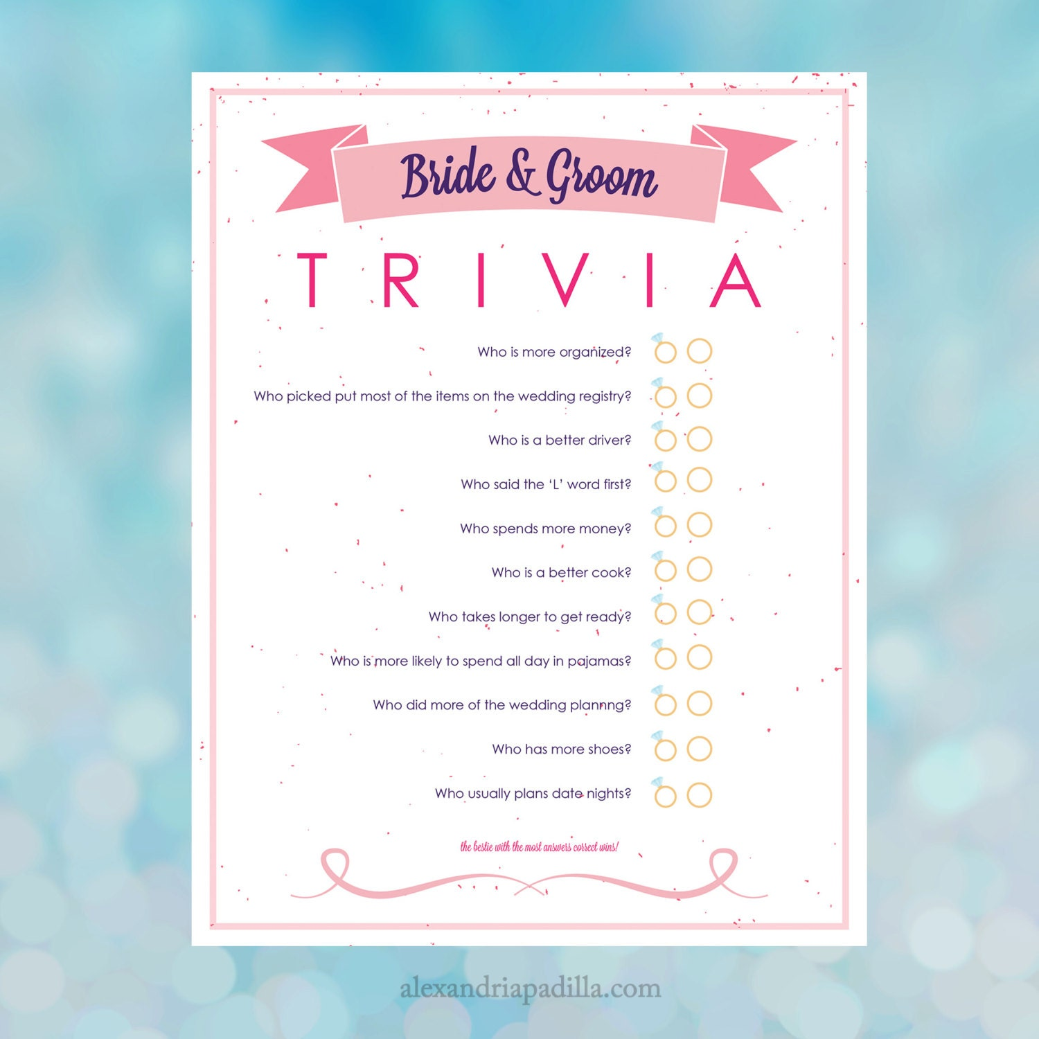 Bride And Groom Questionnaire: Bride And Groom Trivia Bridal Shower Game 8.5x11 Instant