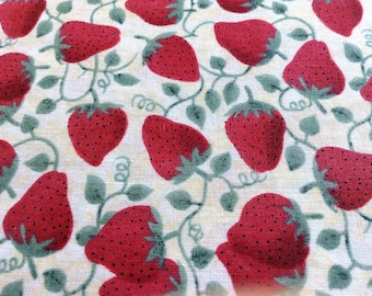Strawberries on the Vine Fabric, 1 Yard Piece, Sewing Material, Quilting, 100% Cotton Material, Sewing Supply, Vintage Fabric Strawberry