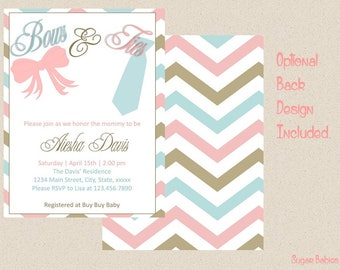 Bows and Ties Baby Shower Invitation