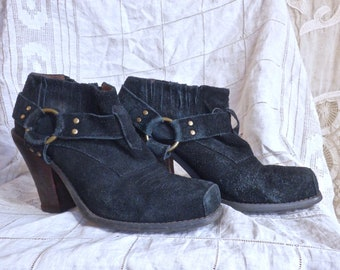 Black Suede Stacked Heel Harness Boots Size 8.5