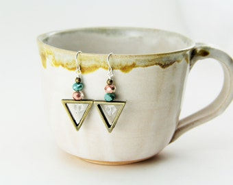 Nickel Free Silver Earrings with Aniqued Brass Triangles and Glass Beads