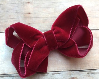 Burgundy velvet hair bow - hair bows, hair bow, bows, velvet bows, hair clips, hair bows for girls, baby bows, girls hair bows, hairbows