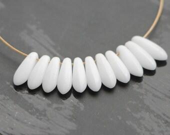 3x11mm Snow White Daggers (30pcs) Czech Glass Pressed Daggers Beads