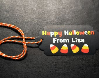 Happy Halloween Candy Corn Party Tags - 12 Halloween Tags - Black and Orange Candy Corn Halloween Trick or Treat Candy Tags