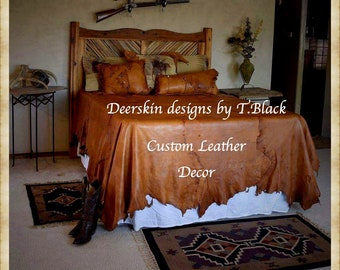 Leather Bedding Deer Hunter Cowboy Bedding Western Bedding Southwest Texas  Bedding