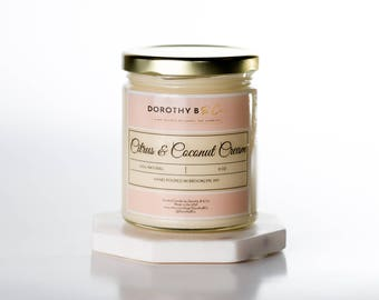 Citrus and Coconut Cream Soy Candle,Hand-poured Candle, Scented Soy Candle, Gift, Premium Soy Candle, Unique Gifts