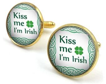 St Patricks Day Cufflinks, Irish Cuff Links, Leprechaun, Luck of the Irish, Irish gifts, Gift for Him, Gift for Men, Irish Gift,