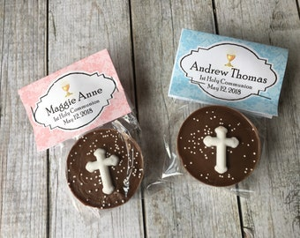 First Communion Favor- Chocolate Covered Cross Oreo - Qty 12 - Communion Favor - 1st Communion Favor - Edible Communion Favor