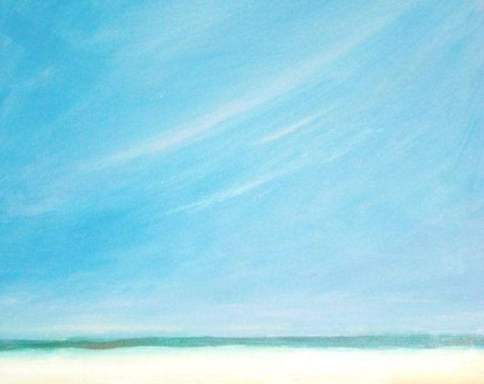 Blue Sky Beach - Daily Painting - Original Oil - Free Shipping
