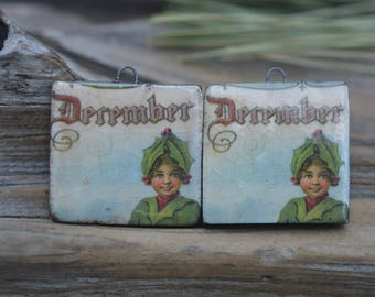 DECEMBER ELF- Handmade Porcelain Holiday Picture Bead Tiles