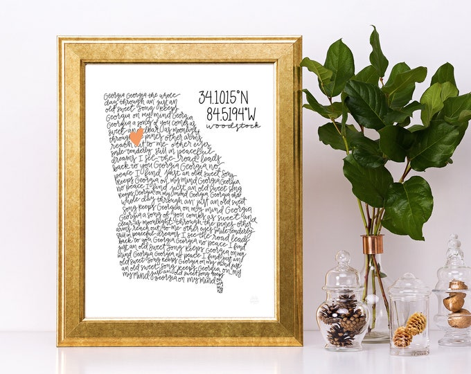 Featured listing image: Georgia On My Mind Lyrics - Georgia Print with Heart for Home - Custom Digital Print