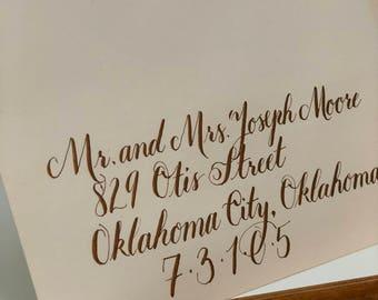 Custom Wedding Invitation in Antique Bronze Ink