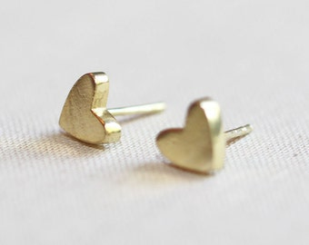 Gold Heart Stud Earrings Mini 14kt Gold Vermeil