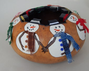 Christmas gourds, snowman gourd, holiday gourds, holiday table, Christmas bowl, carved gourd, gourd art, decorative gourd, carved gourd bowl