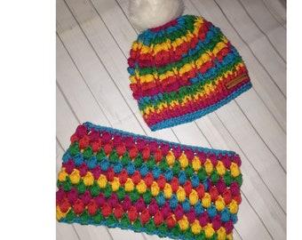Crochet pom pom hat and cowl set