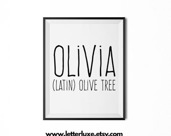 Olivia Name Meaning Art - Printable Baby Shower Gift - Nursery Printable - Definition Digital Print - Nursery Decor Typography Wall Decor
