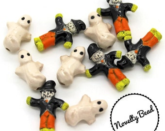10 - Small - Scarecrow & Ghost Beads - Halloween Beads - Fall Beads - Novelty Beads - Ceramic
