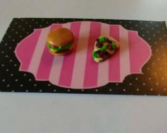 Hamburger and pizza earrings
