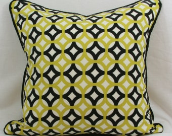 Green and black geometric throw pillow cover with black welt. 20 x 20 pillow cover. Black green pillow cover.