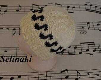 Knit Music Notes Cream White Hat Beanie
