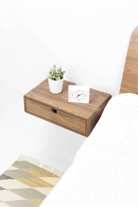 High Quality Floating Nightstand Bedside Table Drawer In Solid Walnut Mid