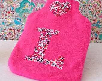 Liberty Floral Initial Personalised Hot Water Bottle Cover