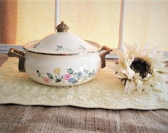 Pretty Floral Lincoware Pot VINTAGE 80's Enamelware Cookware Stovetop Heavy POT LAURIA Floral Lincoware Cookware Pot