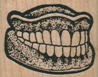 false  Teeth   rubber stamps place cards gifts  unmounted cling stamp or wood mounted 5673