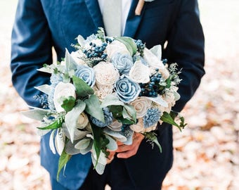 Custom Navy, Sage and Dusty Slate Blue Sola Flower Bouquet and dried Flower Baby's breath, Eucalyptus Lambs ear Style 43