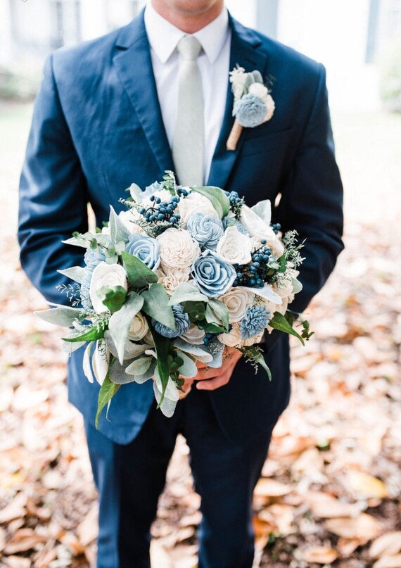 Custom Navy Sage and Dusty Slate Blue Sola Flower Bouquet and