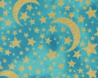 CLEARANCE Moon and Stars Robin's Egg Gold METALLIC by Michael Miller - Sky Aqua Blue - Quilting Cotton Fabric - choose your cut