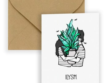 I Love You So Much ILYSM  Illustrated Couples Card | LGBTQ Love Cards | Love Wins | Greeting Cards | Plant Love | Lovers Card | Best Friends