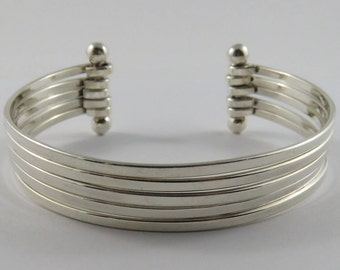 Ladies Sterling Silver Five Strand Cuff Bracelet