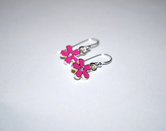 Pink Flower Earrings -- Little Pink Daisies, Tiny Crystals, Silver